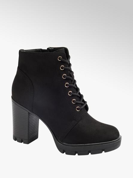 Graceland Čierna šnurovacia obuv so zipsom Graceland