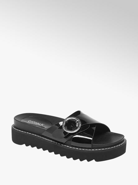 Catwalk Čierne šľapky na platforme Catwalk
