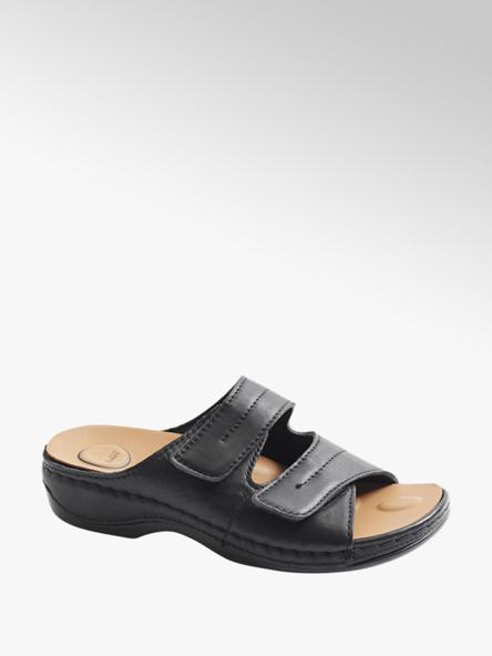 Medicus Čierne kožené komfortné šľapky Medicus