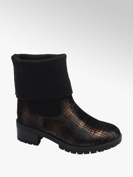 Catwalk Čierne ponožkové čižmy Catwalk s károvaným vzorom