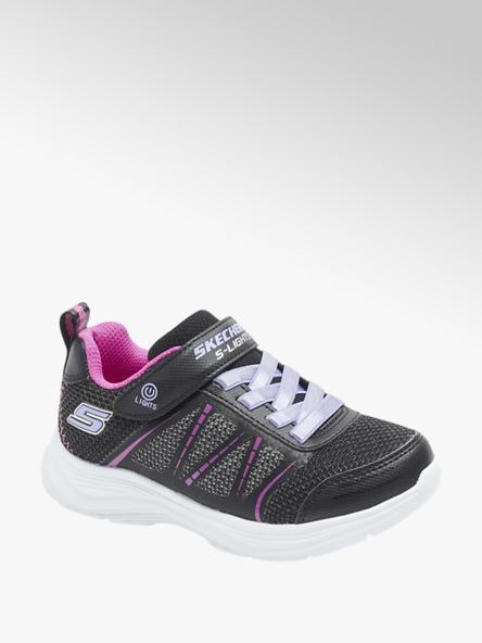 Skechers Čierne tenisky na suchý zips so svetielkom Skechers