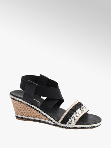 Claudia Ghizzani Čierno-biele sandále na klinovom podpätku Claudia Ghizzani