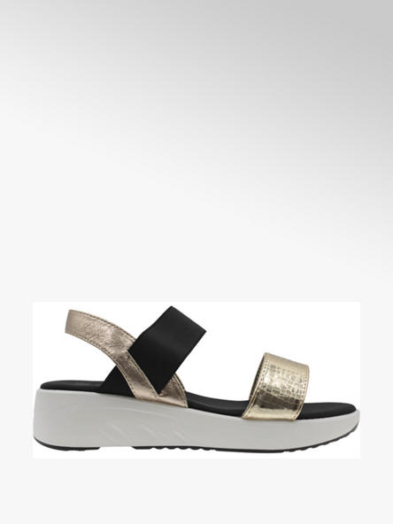 Claudia Ghizzani Čierno-zlaté sandále na platforme Claudia Ghizzani