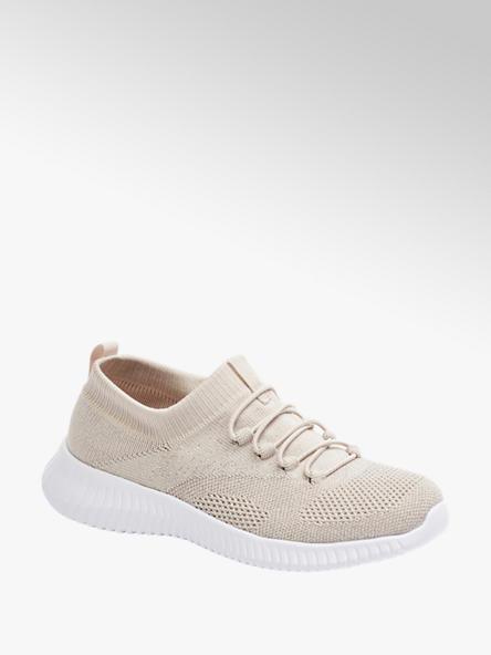 Graceland jasnoróżowe sneakersy damskie Graceland na lekkiej białej podeszwie