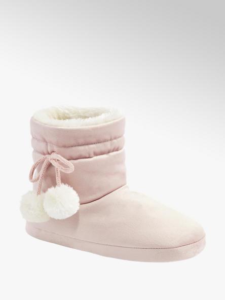Esprit różowe wysokie kapcie damskie Espirt z białymi pomponami