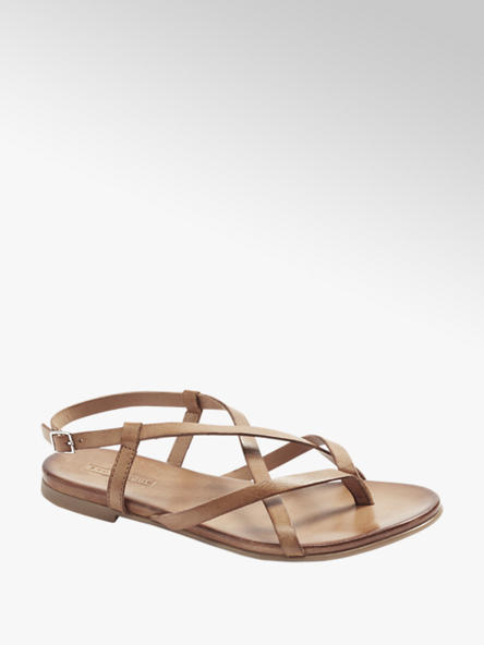 5th Avenue skórzane sandałki damskie 5th Avenue w kolorze brązowym
