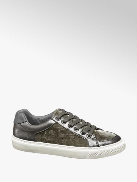 Graceland srebrne sneakersy damskie Graceland na białej podeszwie