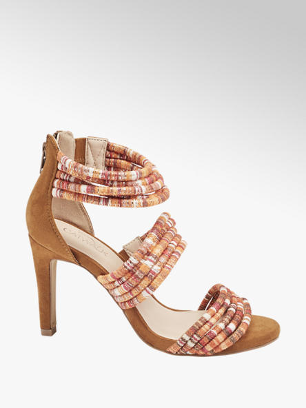 Catwalk wysokie sandałki damskie Catwalk z kolorowymi paseczkami
