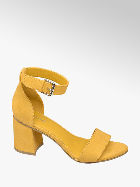 Graceland Yellow Block Heeled Sandals