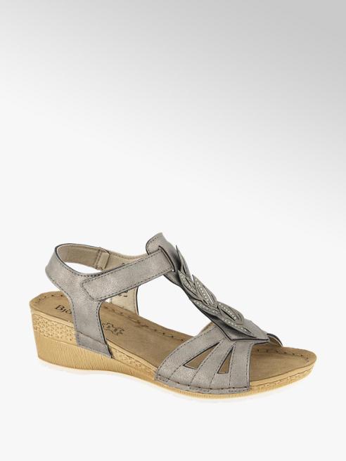 Björndal Grijs metallic sandalette leren voetbed