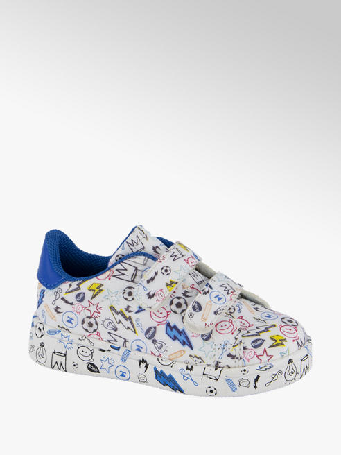 Bobbi-Shoes Witte sneaker all over print