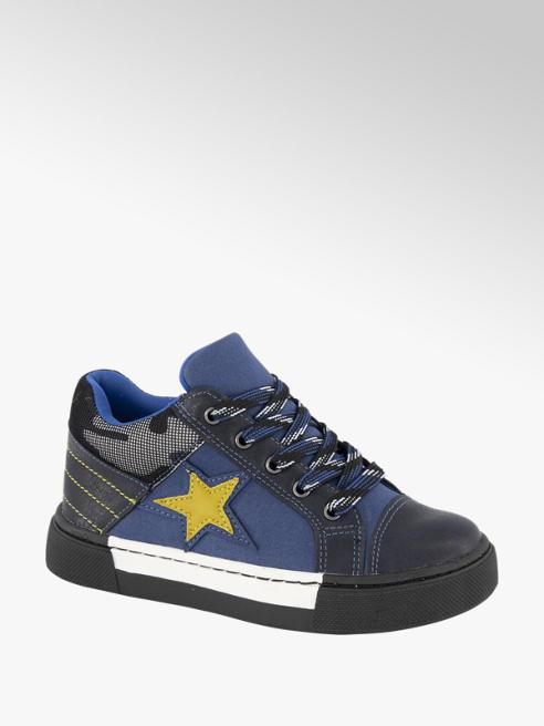 Bobbi-Shoes Blauwe halfhoge sneaker leren voetbed