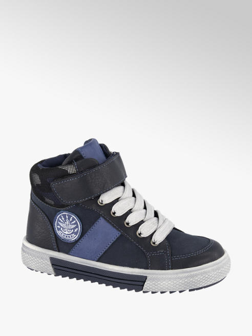 Bobbi-Shoes Donkerblauwe halfhoge sneaker klittenband