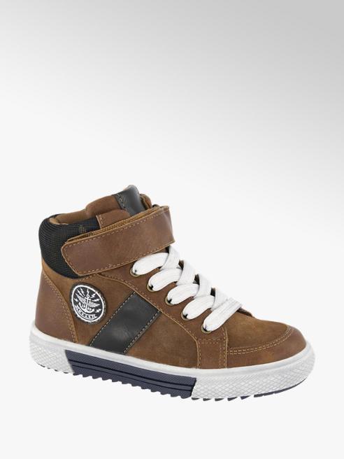 Vty Bruine halfhoge sneaker klittenband