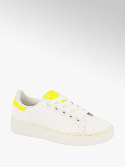 Graceland Witte platform sneaker neon