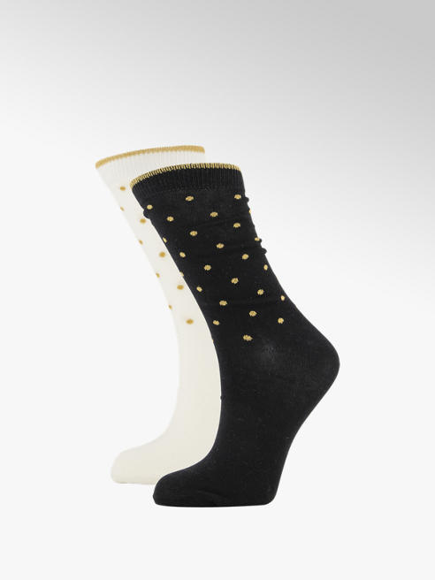 Graceland Zwarte en off-white lurex stippen sokken mt 36-41