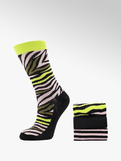 Zwart/roze sokken 3 pak mt 36-41