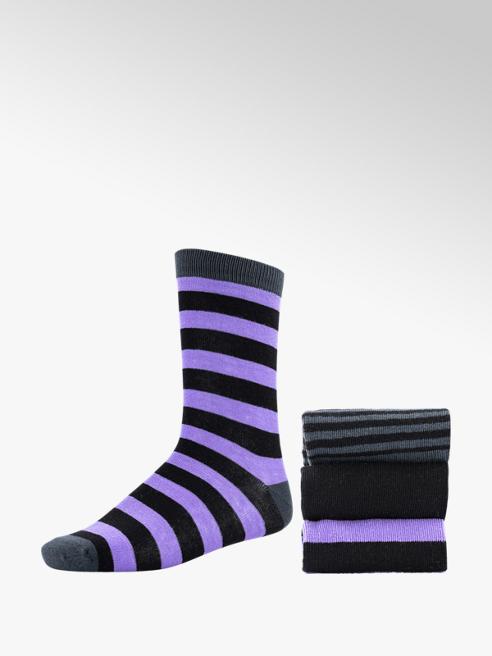Zwart/paarse sokken 3 pak mt 36-41