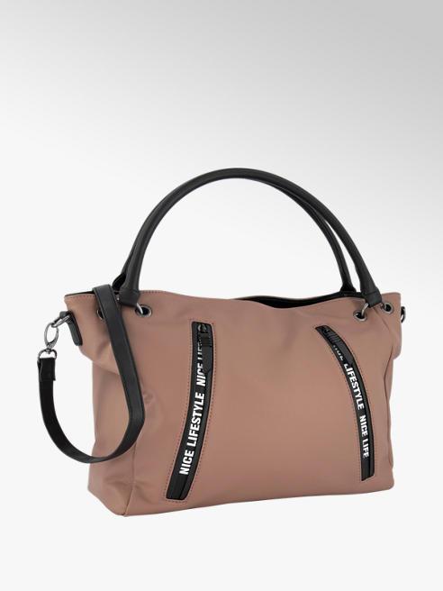 Graceland Roze/zwarte schoudertas logo