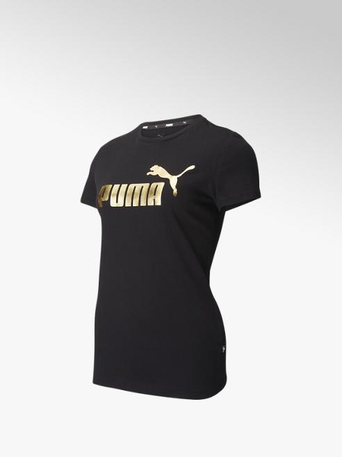 Puma Zwarte Ess+ Metallic Logo Tee - Dames