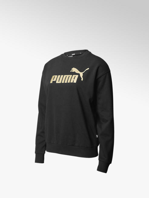 Puma Zwarte ESS+ Metallic Logo Crew Fleece - Dames