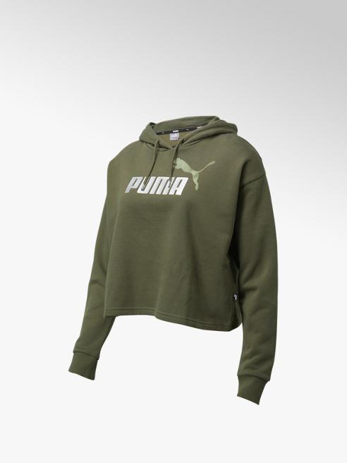 Puma Groene ESS+ Cropped Metallic Logo Hoodie Fleece - Dames
