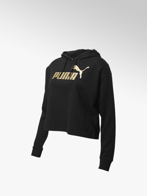 Puma Zwarte ESS+ Cropped Metallic Logo Hoodie Fleece - Dames