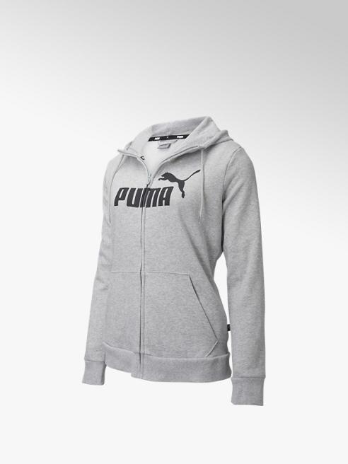 Puma Grijze ESS Logo Full-Zip Hoodie Fleece - Dames