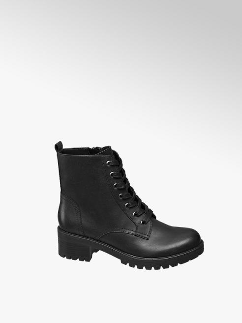 Graceland Black Chunky Ankle Boots