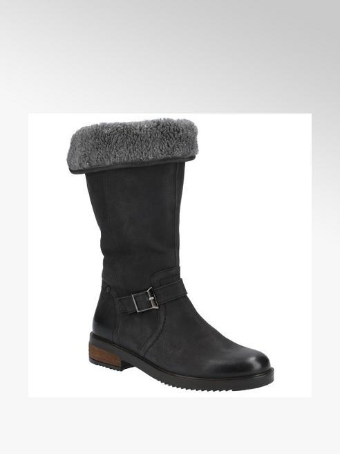 Hush Puppies Black Leather Long Leg Boots