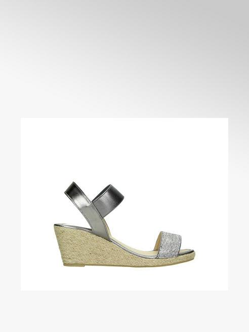 Ladies pewter wedge sandal