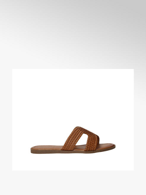 Ladies tan woven mule sandals