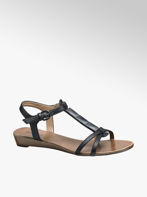 Graceland Zwarte sandaal zilveren details