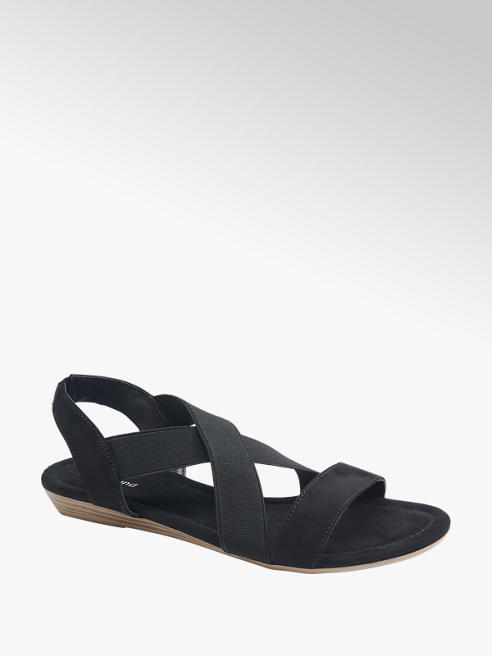 Graceland Zwarte sandaal elastisch