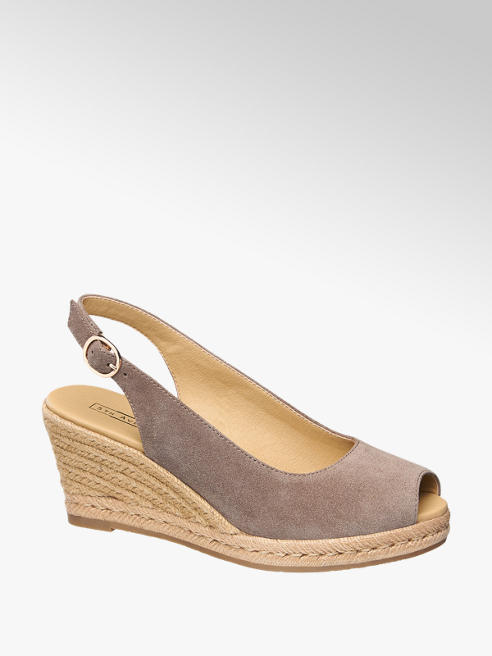 5th Avenue Taupe suède sandalette sleehak