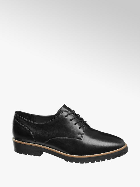 5th Avenue Zwarte leren dandy veterschoen
