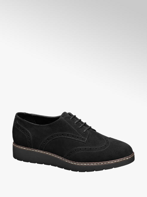 Graceland Zwarte veterschoen brogue