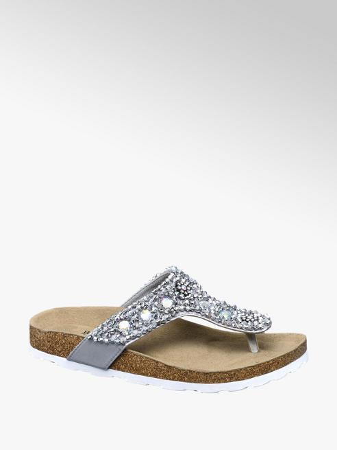 Graceland Grijze sandaal leren voetbed
