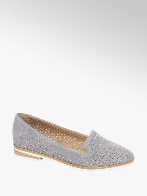 5th Avenue Blauwe suède loafer perforatie