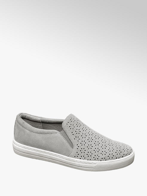 5th Avenue Grijze suéde slip-on perforatie