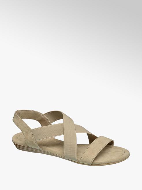 Graceland Beige sandaal elastiek