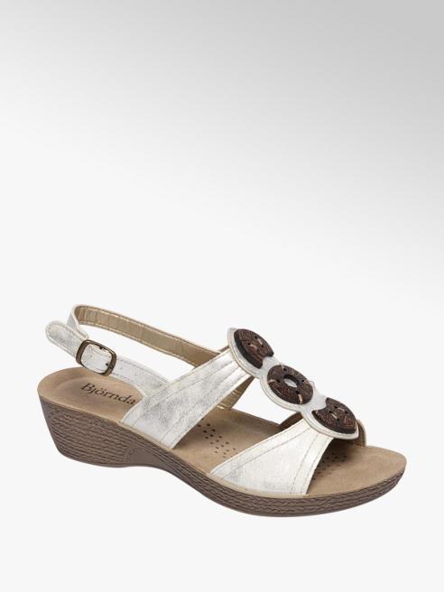 Björndal Zilveren sandaal  leren voetbed
