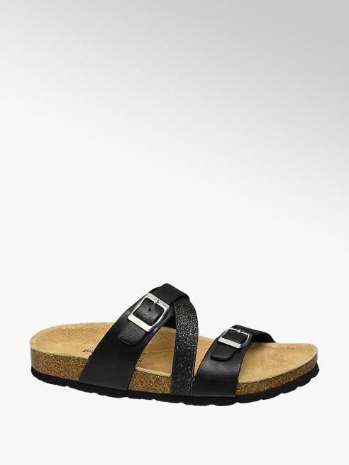 Graceland Zwarte slipper leren voetbed