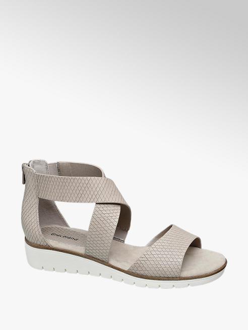 Graceland Beige sandaal wafelprint