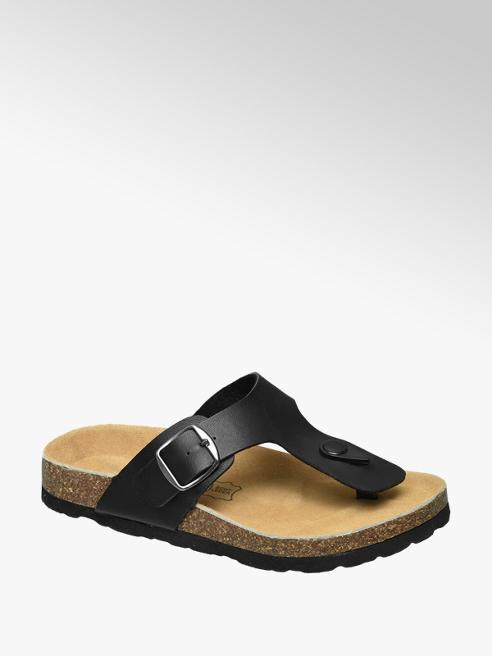 Agaxy Zwarte sandaal leren voetbed