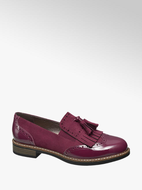 Graceland Bordeaux brogue loafer franjes