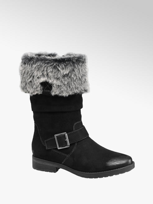Graceland Teen Girl Black Fur Collar High Leg Boots
