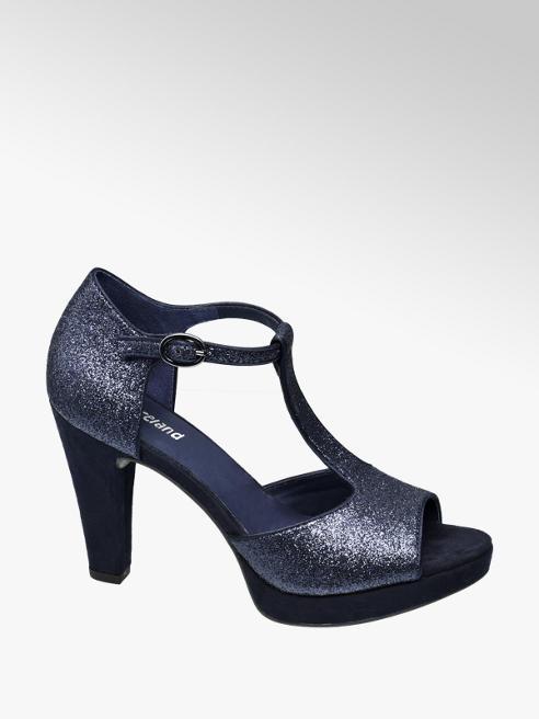 Graceland Donkerblauwe peeptoe pump glitter