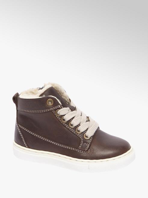 Bobbi-Shoes Bruine leren sneaker gevoerd