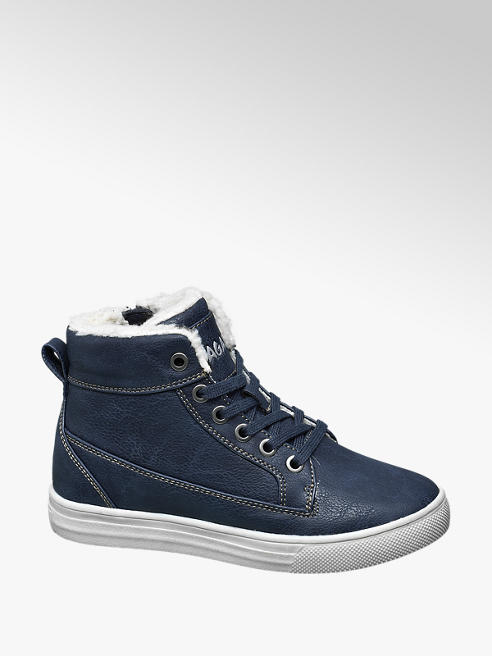 Agaxy Blauwe halfhoge gevoerde sneaker